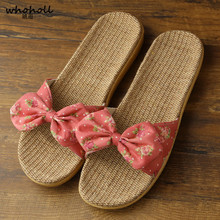 цены WHOHOLL New Women Summer Beach Slippers Breathable Linen Flip Flops Female Casual Flax Slippers Sandals Floral Bow Indoor Shoes