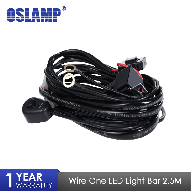 Oslamp 2.5M Car LED Light Bar Wire Wiring Harness Relay Loom Cable Kit Fuse for Auto Driving Offroad Led Work Lamp 12v 24v 40A