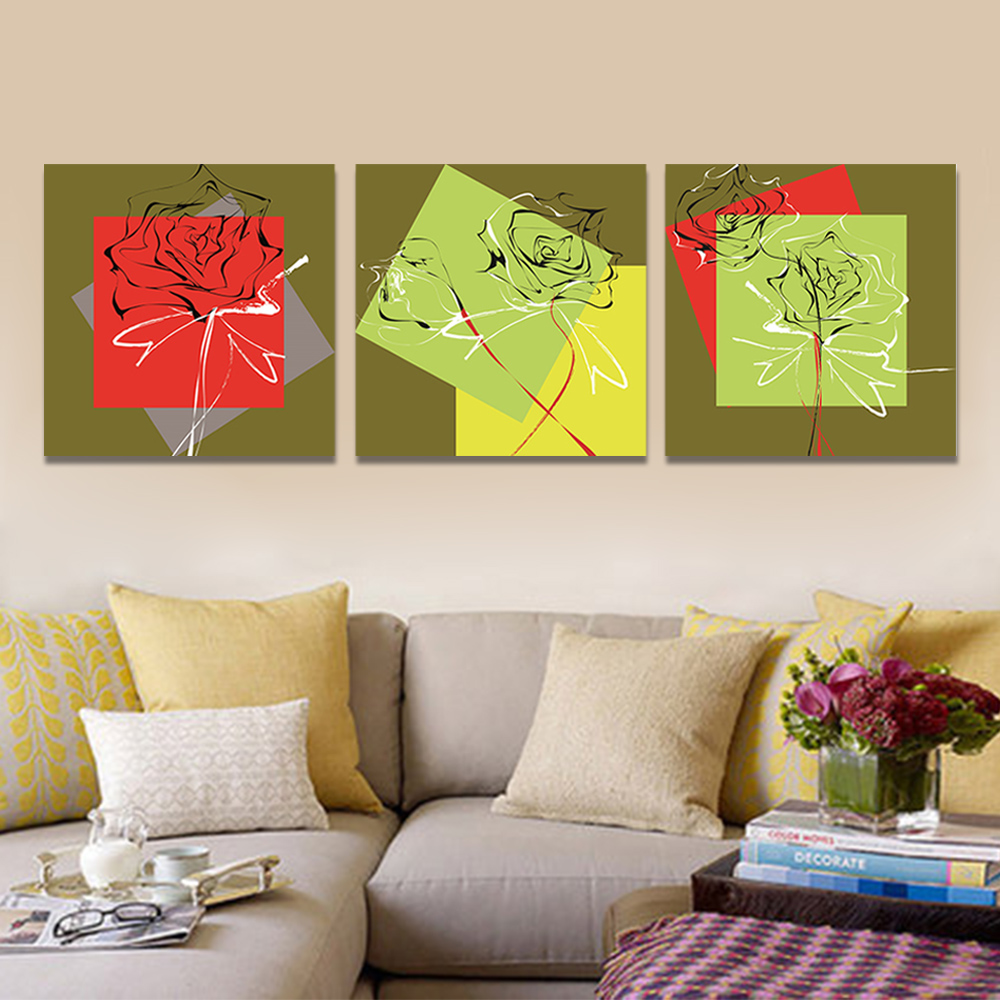 Unframed 3 Abstract Canvas Painting Line Drawing Rose Wall Art Decor Prints Wall Pictures For Living Room Wall Art Decoration