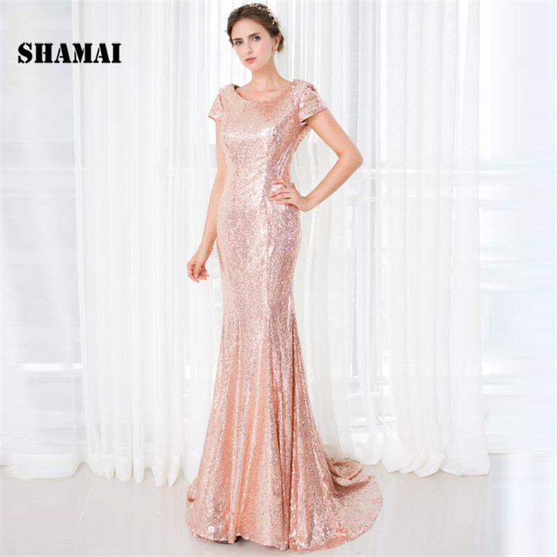 SHAMAI Short Sleeve O-neck Champagne Sequined   Bridesmaid   Gowns Wedding Party   Dress   In Stock Trumpet Mermaid   Bridesmaid     Dresses