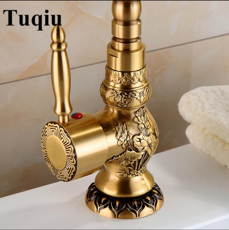 Basin Faucet Antique Brass Bathroom Faucet Basin Carving Tap Rotate Single Handle Hot and Cold Water Mixer Taps Crane-in Basin Faucets from Home Improvement    3