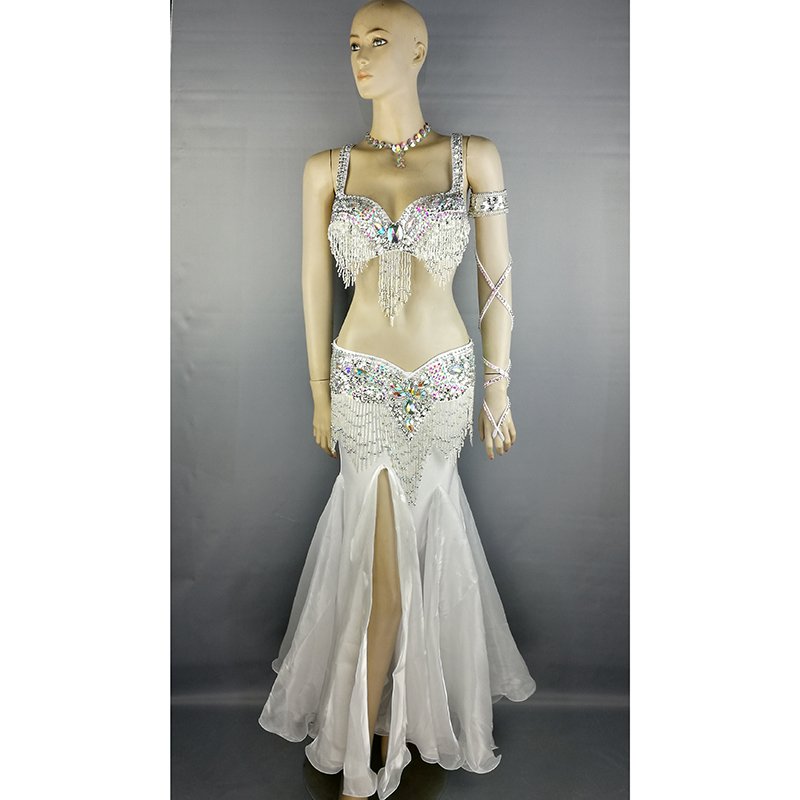Free shipping high quality belly dance costume wear stage performance 5 piece suit Beaded bra belt