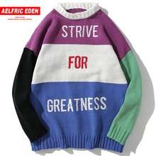 Aelfric Eden Vintage Color Block Letter Printing Sweaters 2018 Men Hip Hop Casual Loose Pullover Knitted Sweater Streetwear KJ24