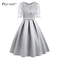 JLI MAY Summer Mesh Party Dress Women Grey Midi Bow Fit And Flare Short Sleeve O