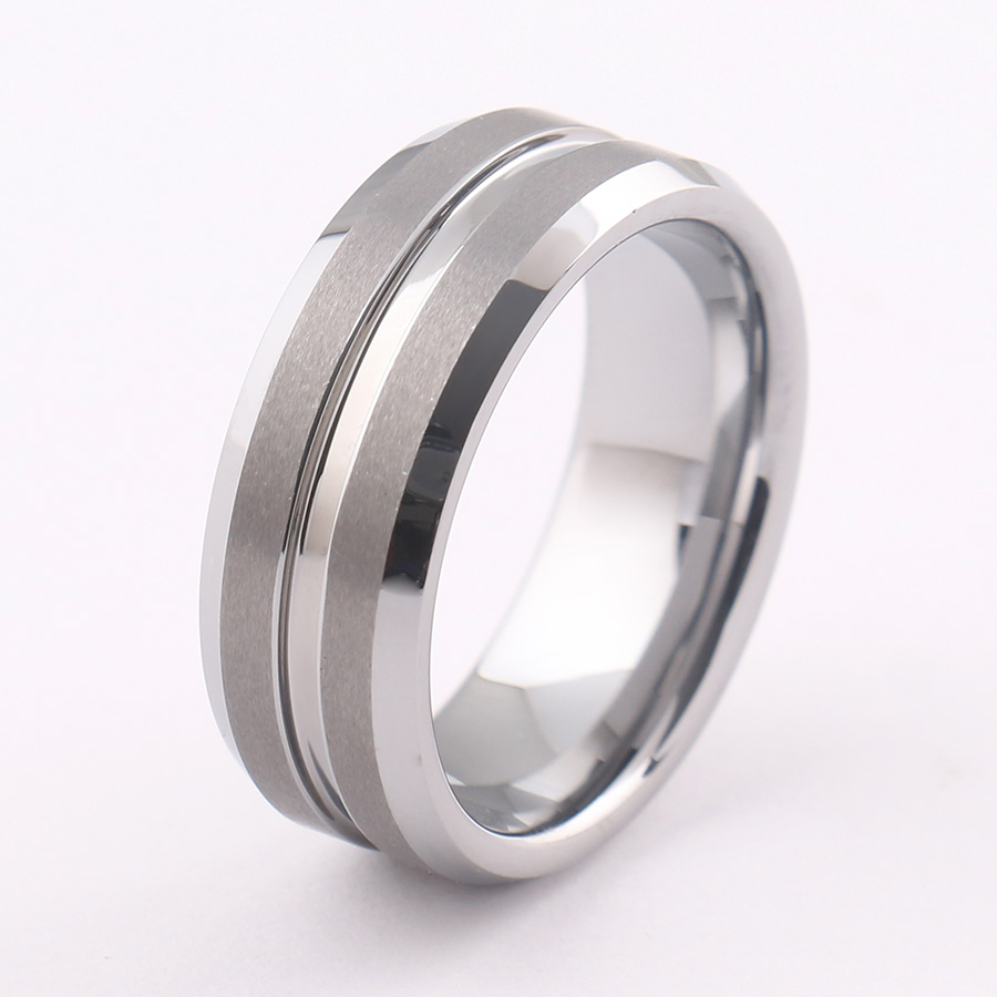 Silver Simple Ring Men Jewelry Classical Tungsten Steel Ring For