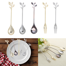 Leaf Shape Gold Silver Coffee Spoon Fork Kitchen Dining Room Bar Cutlery