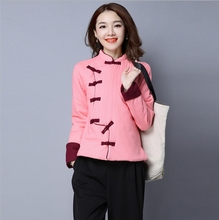 Retro China Tangsuit for ladies  cashmere Hanfu thickened cotton tea clothing female pink style coat