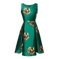 Women Summer Sleeveless O Neck Green Satin Rose Flora Print Ball Gown Dress Runway Style Empire