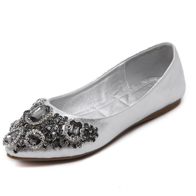 Crystal Ballet Flats 2017 New Bling Loafers Silver Casual Shoes Woman Slip On Pointed Toe Women Flat Shoes size 35-39 2017 spring summer new women casual pointed toe loafers flats ballet ballerina flat shoes plus size 34 43