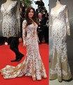 Impresionante Sirena de Champán Vestidos de La Celebridad Vestidos con Cuello En V APliques Embellecido Vestidos de Noche Hermosa de Baile PartyDresses