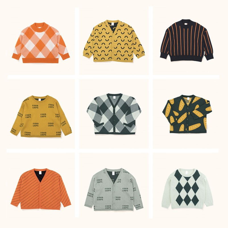 BOBOZONE 2018 F/W fish & chips cardigan Baguettes Cardigan Big Check Mock Sweater for kids boys girls knited все цены