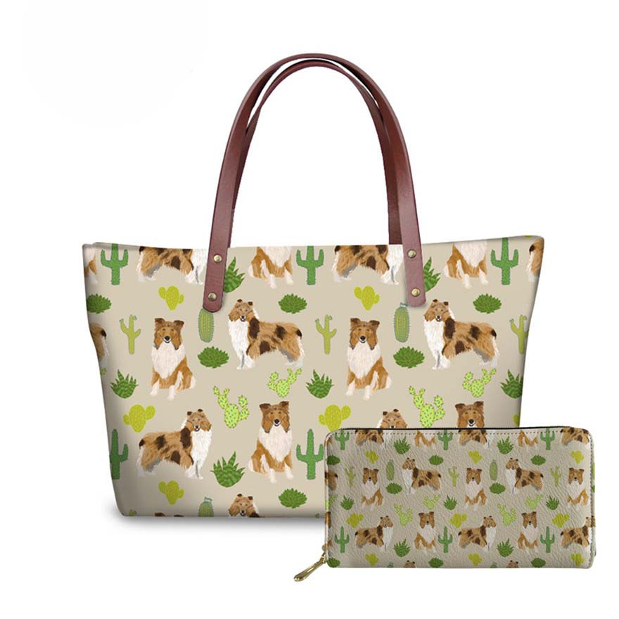 NOISYDESIGNS Rough Collie Printing Handbags&Wallets Women Fashion 2pcs/set Handbags Ladies Travel Top-Handle Bags for Females