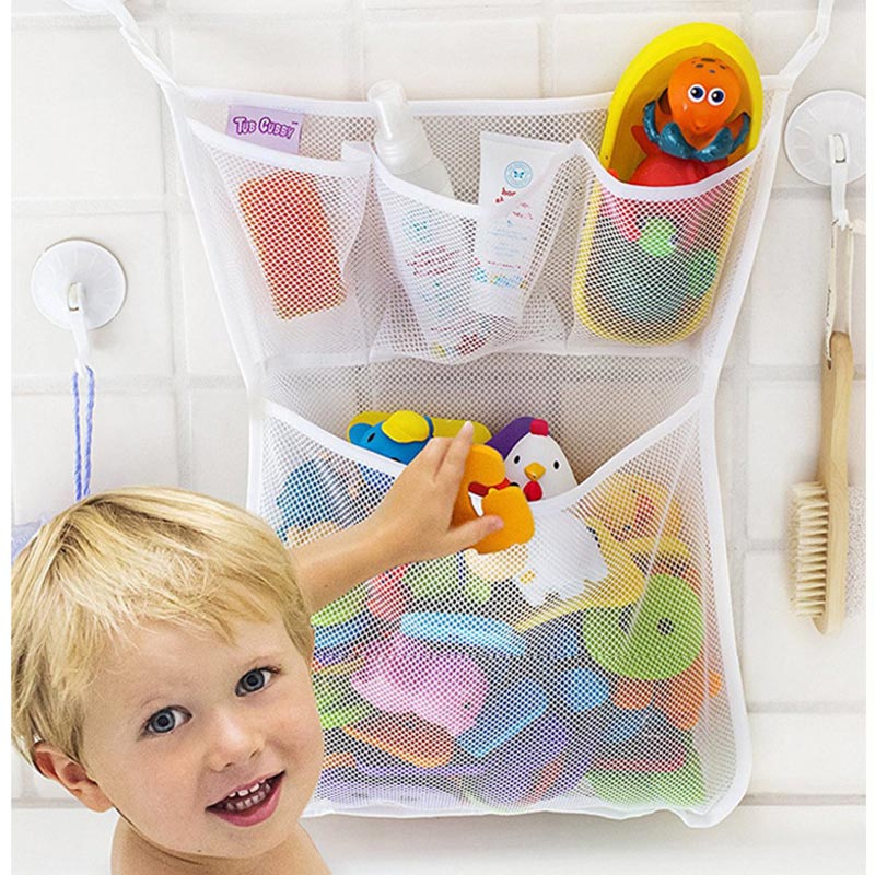 Portable Tidy Storage Suction Cup Folding Bag Kids Baby Bath Toys Baby Bathroom Toys Suction Cup Baskets Mesh Bag Organiser Net