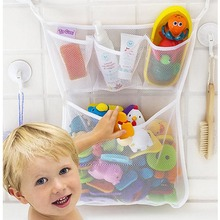 Portable Tidy Storage Suction Cup Folding Bag Kids Baby Bath Toys Bathroom Baskets Mesh Organiser Net
