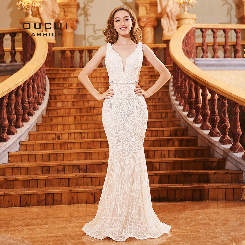 Formal Tulle spaghetti   Evening     Dresses   Long White   Dress   2019 Sequined Mermaid vestidos de fiesta de noche Real Photo OL103288