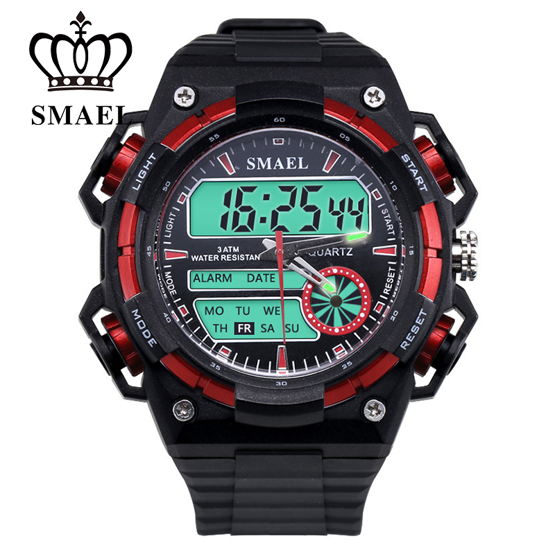 Big Dial New Sport Watches for Men Dual Time Display Wristwtch LED Digital Quartz Watch Male