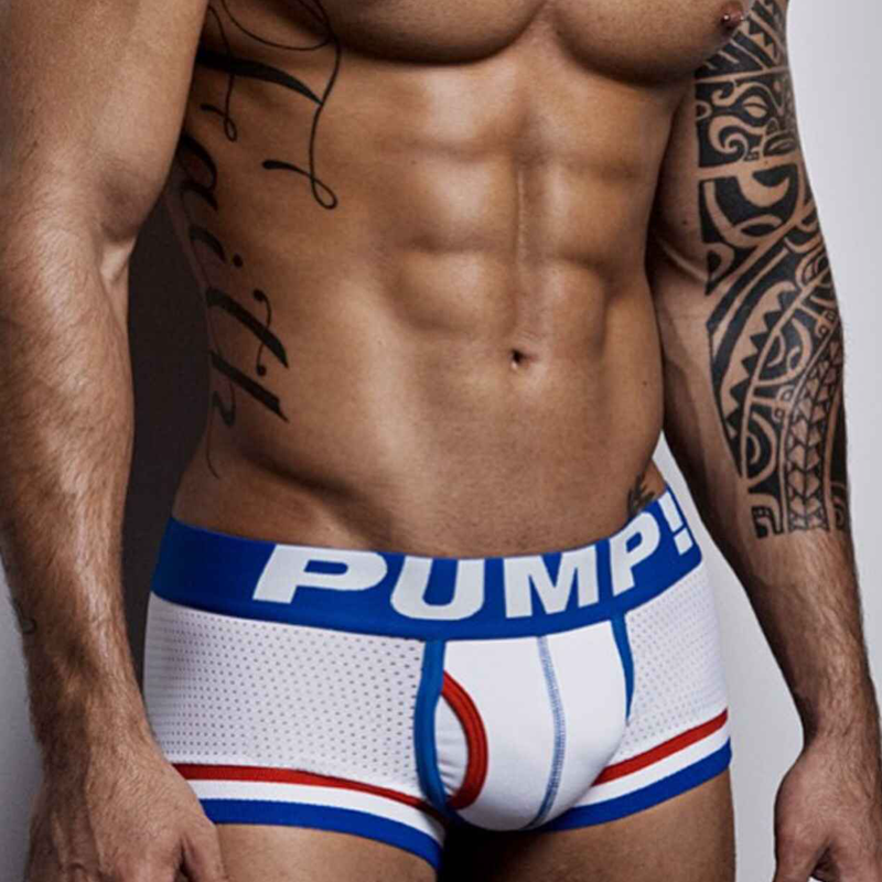 Mesh Boxer Pants PUMP Male Underwear Nylon Sexy Brand Tanga Para Cueca Ropa-Interior