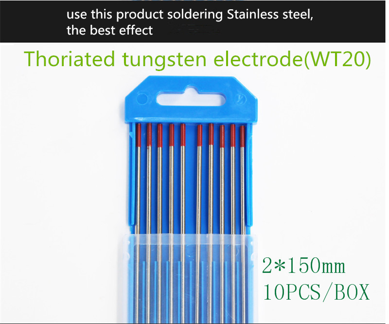 YT1465  10PCS/BOX Thoriated Tungsten Electrode   Diameter 2mm Length 150mm  Soldering Stainless Steel Free Shipping  WT20 wt20 tig welding tungsten electrode 2