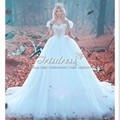 Cinderalla romántico del vestido de Bola Vestidos de Novia 2017 Blanco Capilla Tren Cristales Lentejuelas Victorian Árabe Robe De Mariage vestido de Renda