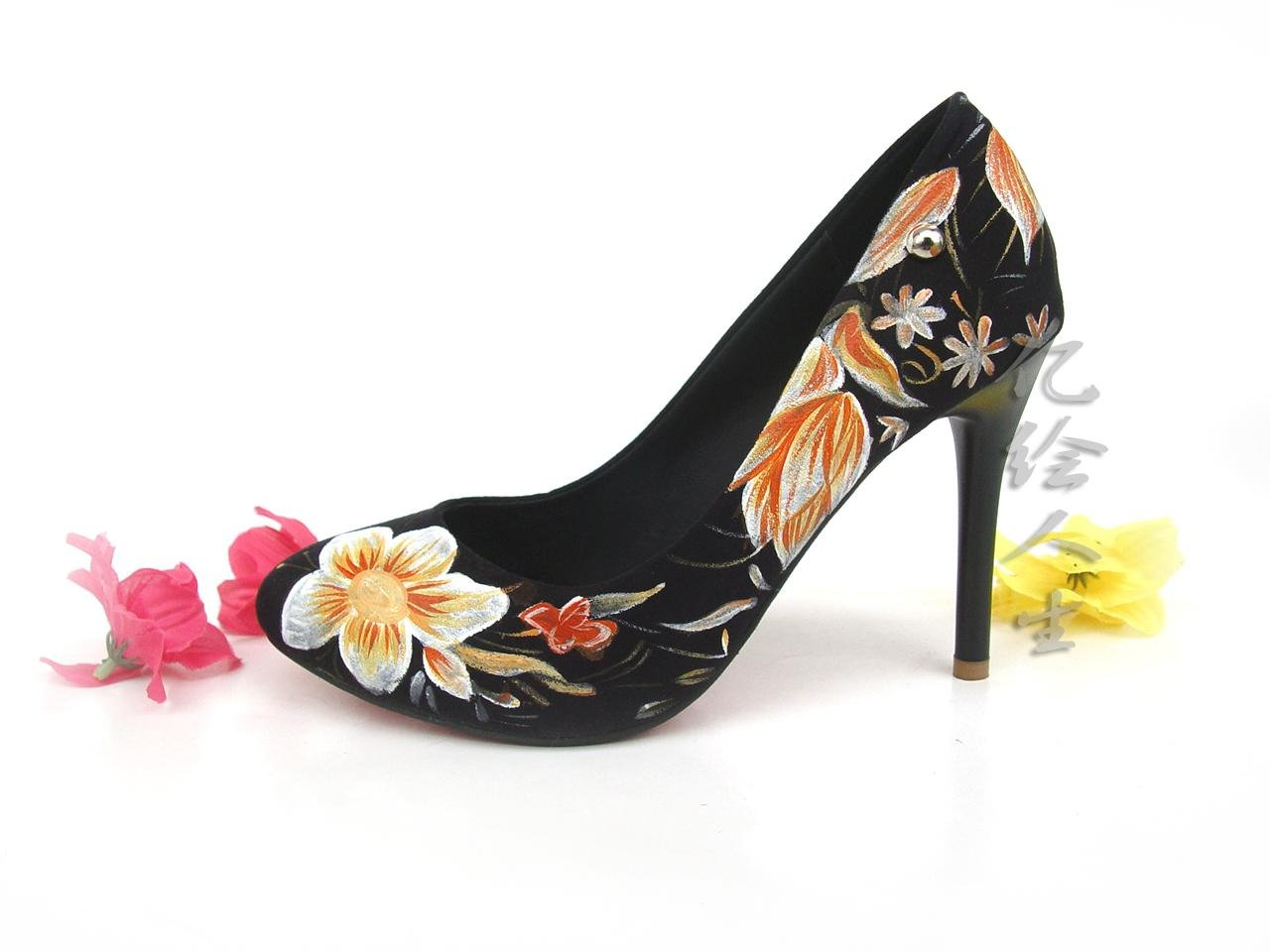 High Heel Shoes Evening Dress Shoes Fashion Shoes With Yellow Flowers Original Style Of Europe
