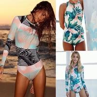 2018 Print Floral One Piece Swimsuit Long Sleeve Swimwear Women Bathing Suit Retro Swimsuit Vintage One