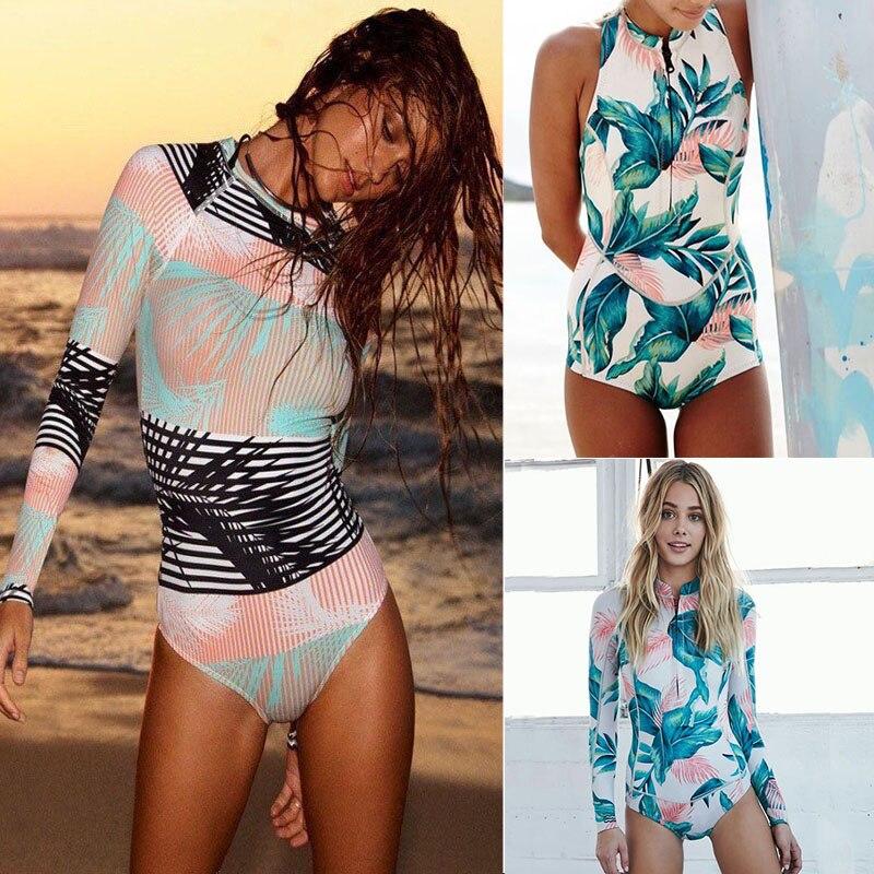 2018 drucken Floral Badeanzug Langarm Bademode Frauen Badeanzug Retro Badeanzug Vintage einteiliges Surfen Schwimmen anzüge