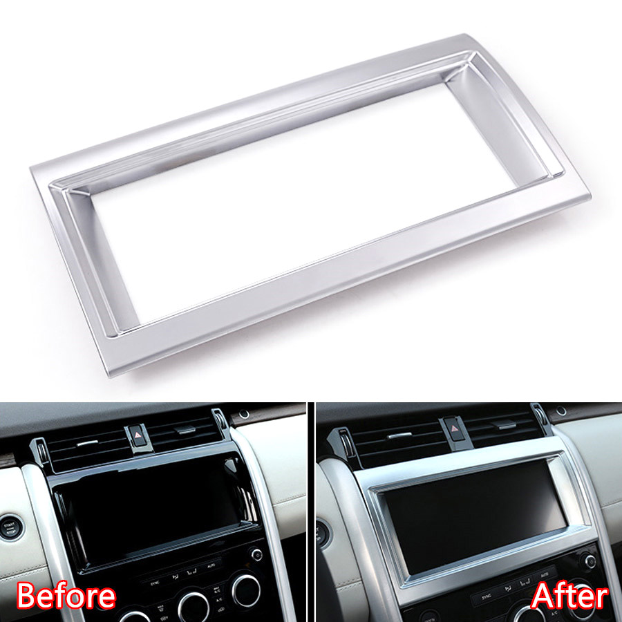 YAQUICKA Car Interior Navigation GPS Frame Trim Bezel Styling For Land Rover Discovery 5 HSE 10inch Screen Car-Covers yaquicka carbon fiber style 4x car interior door side panel cover strips trim for land rover discovery 5 2017 car styling covers