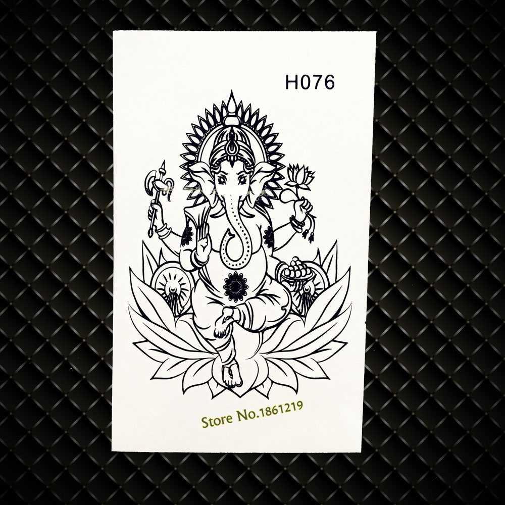 Indian elephant Men Waterproof Temporary Tattoo Lotus Ganesha Buddha Tattoo Stickers GH076 Women Makeup Totem Tattoo Onderarm