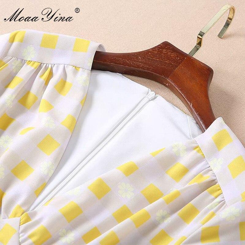 Estilo Floral Corta Cuadros Moaayina Estampado A V Vestido Mujeres Con De Cuello Verano En Pista Elegante Las Slim Moda La Diseñador Preppy Amarillo Manga w6qwUHC