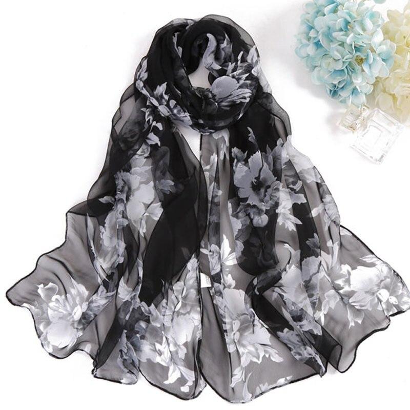 Silk Fashion Print Scarf Shawls Women Chiffon Flower Scarves Cape Female Stoles