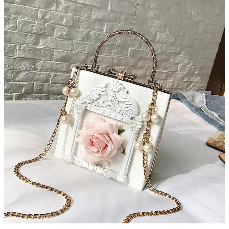 2018 NEW Rose 3D Palace Sculpture Frame Bag Luxury Handbags Women Party Bags Designer Lady Cute Shoulder Messenger Bag Sac Tote 12