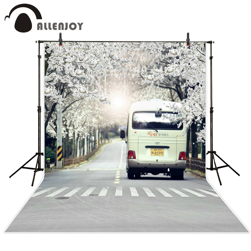 Allenjoy 5ftx7ft background Photo Studio Photography road car Crosswalk trees flower married children Backdrop custom size green trees dig agricultural tools road ji special steel flower shovel custom specifications specials
