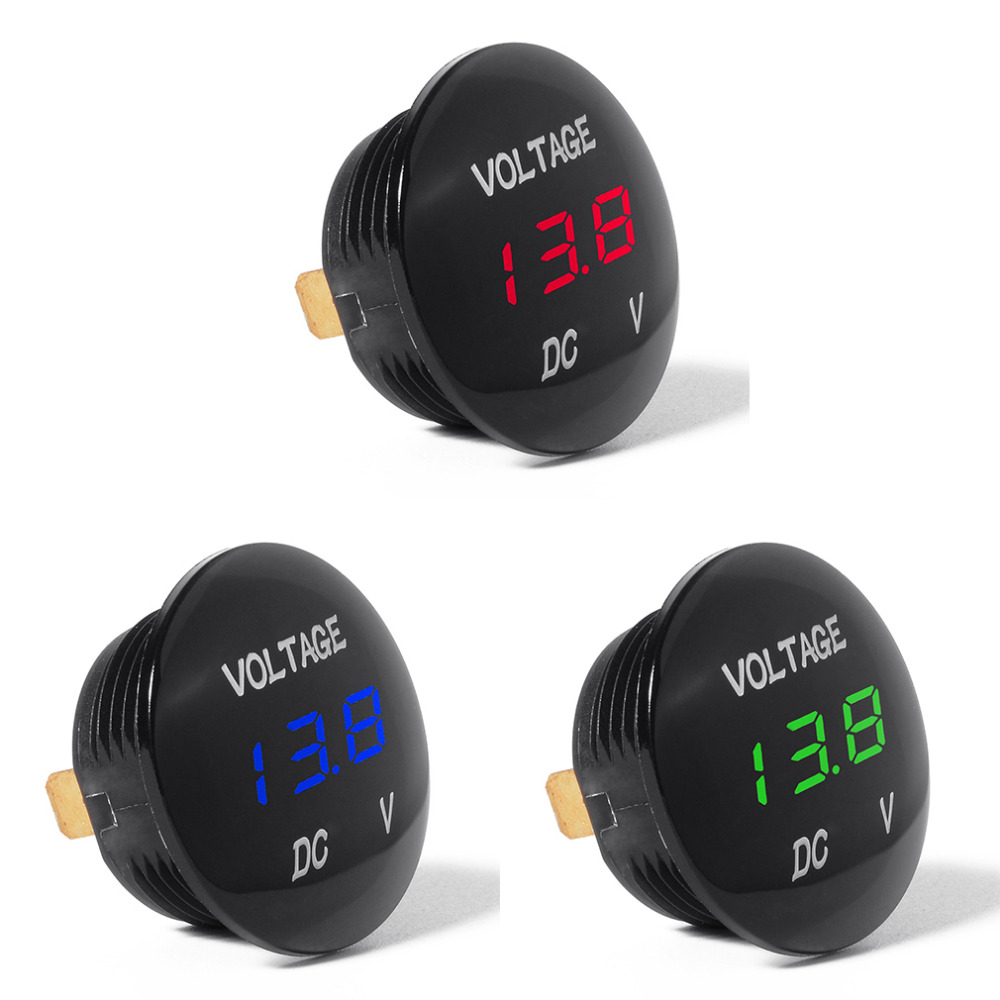 3 Colors Car LED 12-24V Short Circuit Protective Battery Monitor Accurate Digital Display Voltage Meter Thermometer New