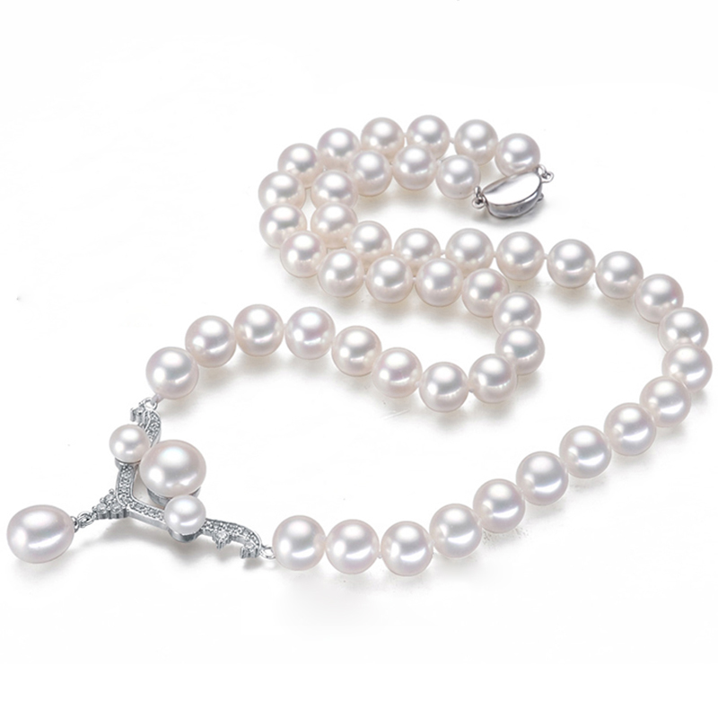 RUNZHUQIYUAN 2017 100% natural freshwater pearl choker necklace Perfect Round necklace Jewelry Genuine Pearl 925 sterling silver
