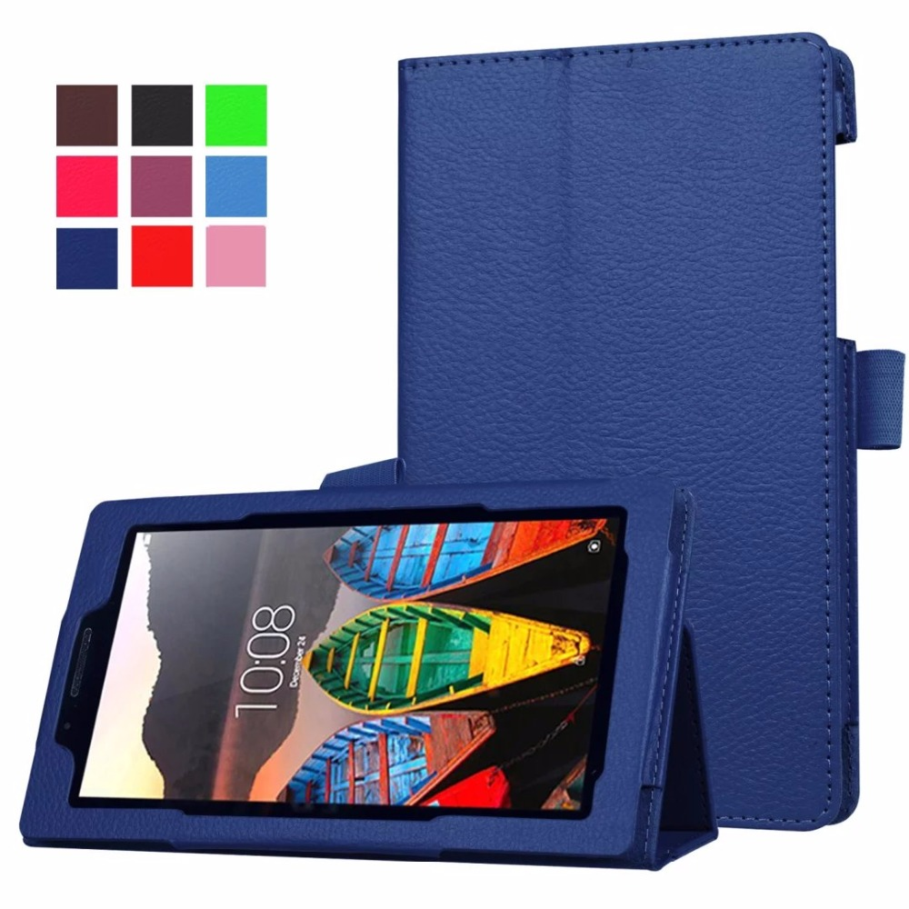 2016 جدیدترین کیف چرمی Litchi Grain PU Case For Lenovo tab 3 7.0 710 ضروری tab3 710F Case Tablet Cover Flip Cover + film + stylus
