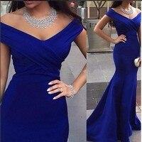 New Arrival Mermaid Royal Blue Long Evening Dress V neck Floor Length Women Arabic Evening Gowns 2016 robe de soiree