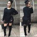 Женщины осень зима мода случайный сексуальный короткие трикотажные платья женские осень весна кисточкой свитер платье тонкий перемычка пуловер N002