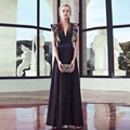 Fashion Brand Designer Runway Dress Women Sexy Deep V neck Embroidery Celebirty Party Dresses 2017 New Black Summer Casual Dress
