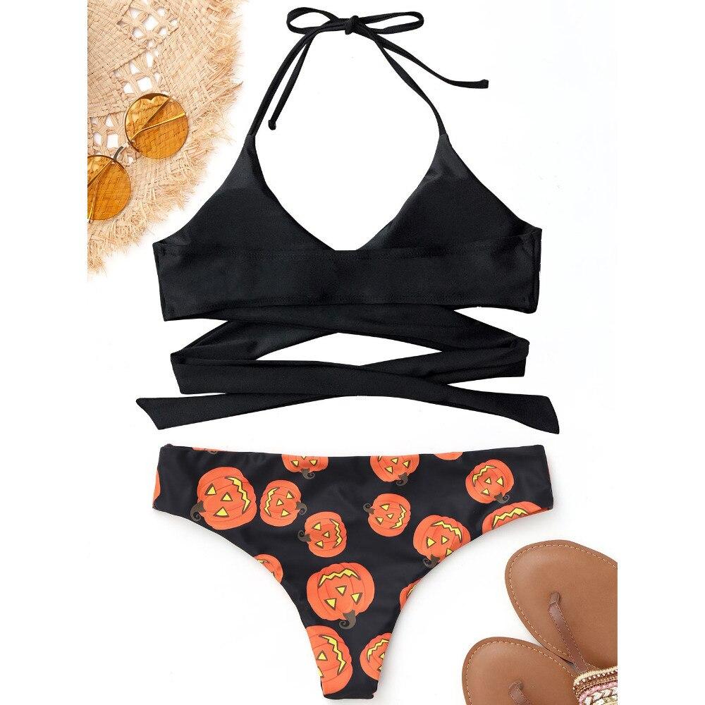 d348945484 Zaful 2017 New Women Halter Halloween Pumpkin Wrap Bikini Mid Waist Print  Pumpkin Swimssuit Beach Brazilian Swimwear Wrap Biquni