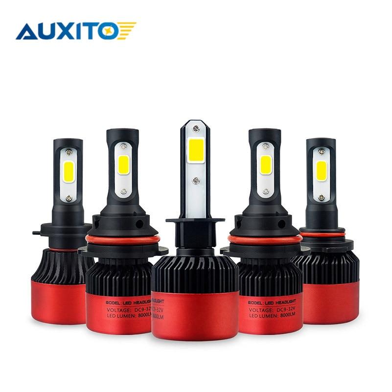 2 piezas H11 LED H8 H9 9005 9006 HB4 del coche LED faro Hi-Lo haz 12 V COB Auto coche de la luz de niebla bombillas 6500 K blanco LED lámpara 16000LM