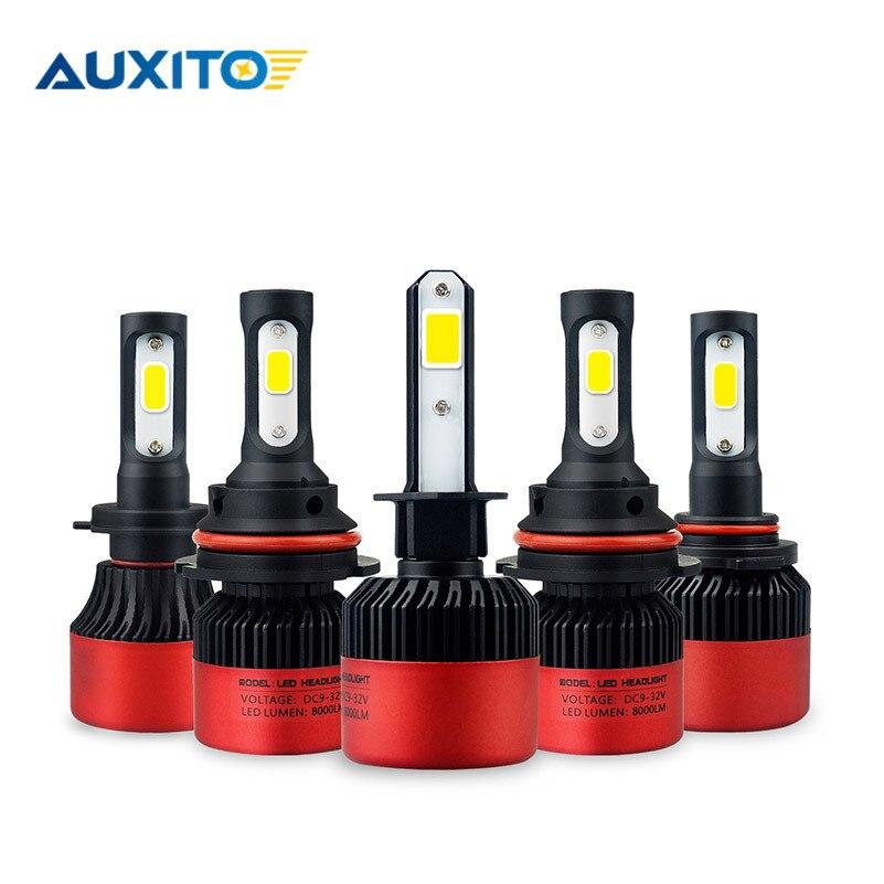 2 piezas LED H11 H8 H7 9005 9006 HB4 coche LED faro Hi-Lo haz 12 V COB Auto coche niebla bombillas 6500 K blanco LED 16000LM