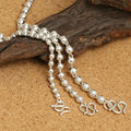 3-5mm bead rosary necklace sweater chain 100% 925 sterling silver fashion jewelry brand necklace pendant women or men 2016 ZN49