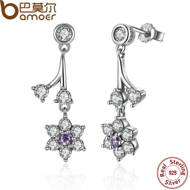 dff29d63b9b US $8.89 40% OFF|BAMOER Summer Collection 925 Sterling Silver Forget Me  Not, Purple & Clear CZ Women Drop Earrings Fine Jewelry PAS470-in Drop ...
