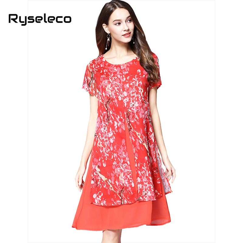 Ryseleco Women Loose Fashion Peach Floral Tropical Print Chiffon Patchwork Knee Length A-line Dresses 2017 Summer Casual Vestido
