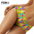 FORUDESIGNS Breathable Panties Women Colorful Pattern Cute Underwear Mid-Rise Panty for Female Sexy Lingerie Seamless Panties