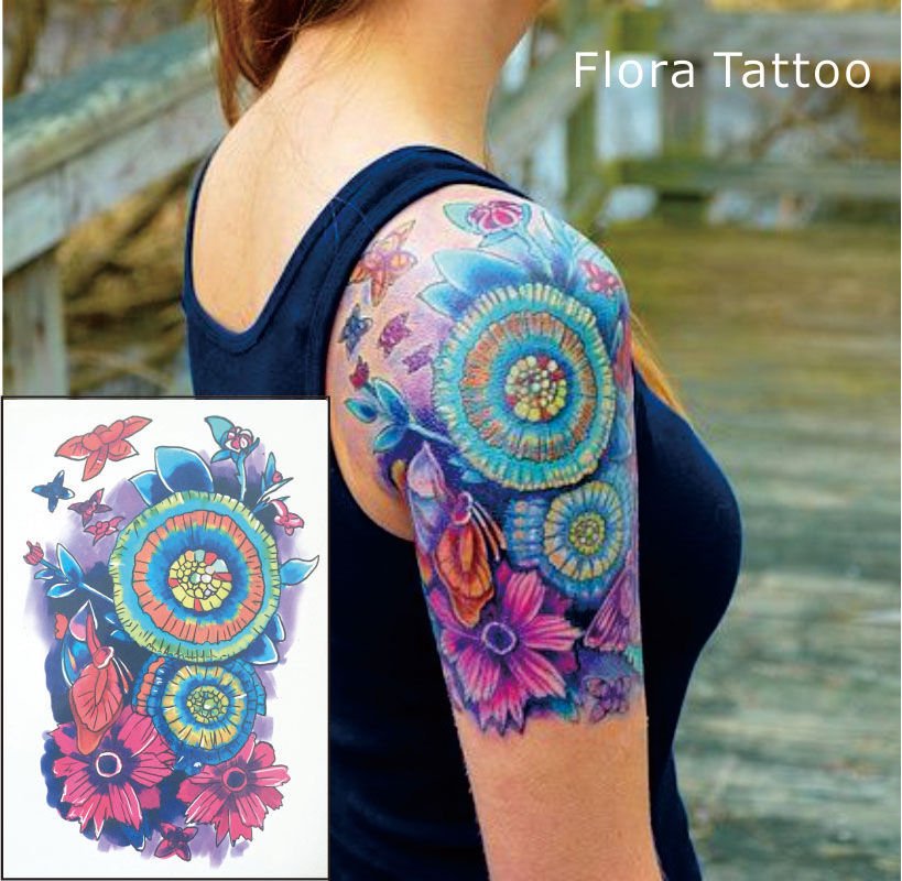 Ft01 Flora Temporary Body Tattoo Colorful Mandala Flower Tattoos Can