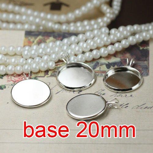Free shipping!!! 200pcs round silver plated Frame charms Pendants 20mm,Cameo Cab settings,pendant base,pendant settings