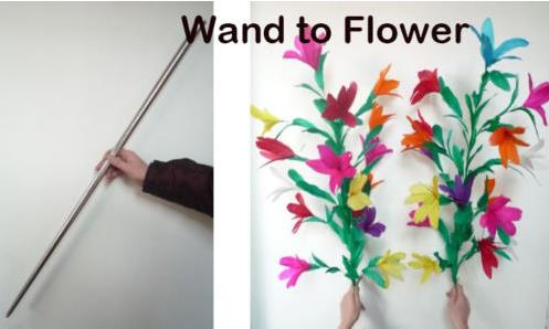 Free shipping Wand into Two Bunches of Flowers Stage Magic Tricks Flower Appearing Magic Props Comedy Party Trick free shipping ghost hand magic trick stage closeup magic tricks fire props comedy