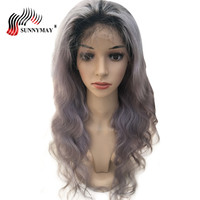 Sunnymay Full Lace Human Hair Wigs 1B/Grey Brazilian Virgin Hair Body Wave Ombre Lace Wig Human Hair With Baby Hair Glueless