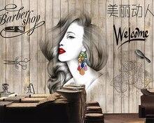 beibehang Large photo wallpaper Watercolor beauty wood grain salon hairdresser beauty salon barber shop background 3d wallpaper цена 2017